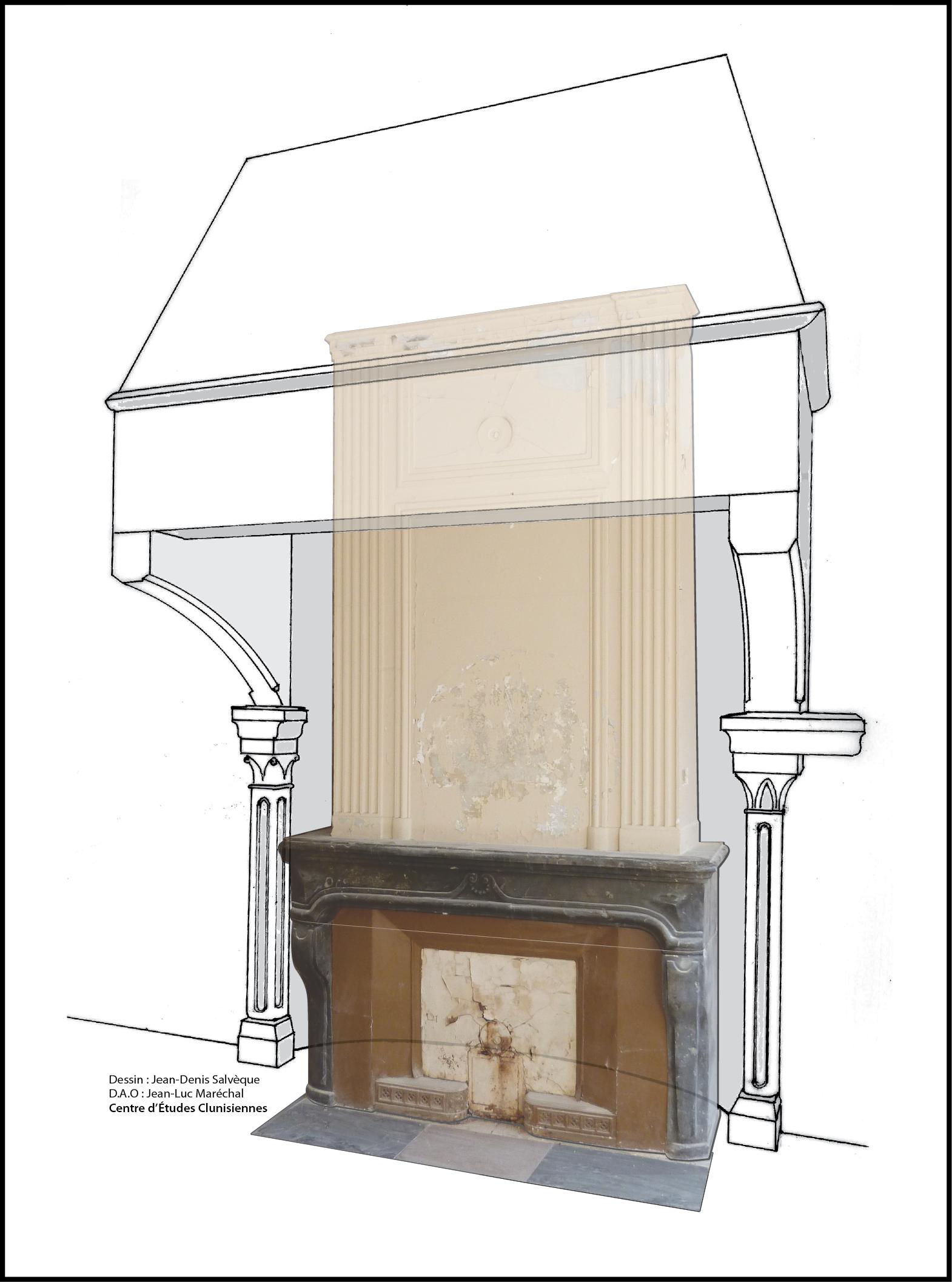 Fig.5 Maison Dite Des Dragons, 8 Rue De La Barre : Restitution De La  Cheminée Médiévale En Superposition De La Cheminée Actuelle Du0027époque  Classique ...